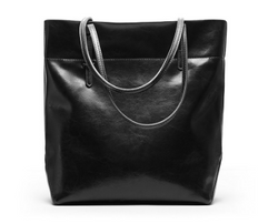 Unique Designed Italian Leather Made Large Bucket Bag - Black color