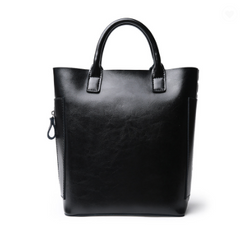 Beautiful Designed Cowhide Italian Leather Bucket Bags for Women - Black