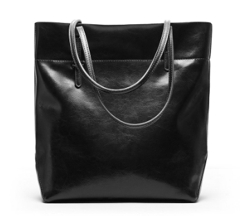 Fashionable Italian Leather Made Large Tote Bag for Women - Black Color