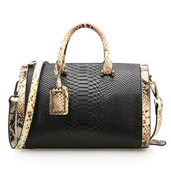 Unique Designed Vintage Style Snake Leather Made Purse Bag for Women - Black