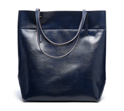 Fashionable Italian Leather Made Large Tote Bag for Women - Blue Color