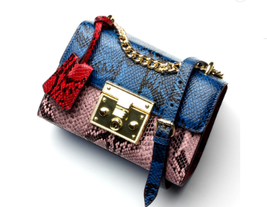 Trendy & Stylish Designed Shoulder Strap Snake Skin Leather Ladies bag - Blue Color