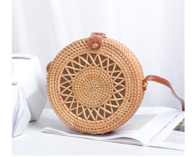 Beautiful Designed Handmade Summer Beach Bag Round and Small for Women - Brown