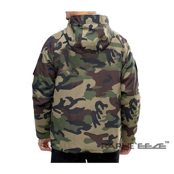 Commando Camouflage hoodie Jacket for men with zip-front closure and split-kangaroo pockets