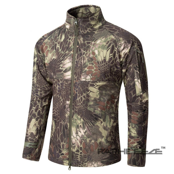 Nature Camouflage hoodie with zip-front closure and split-kangaroo pockets - Olive color
