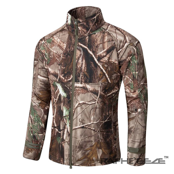 Nature Camouflage hoodie with zip-front closure and split-kangaroo pockets - Forest