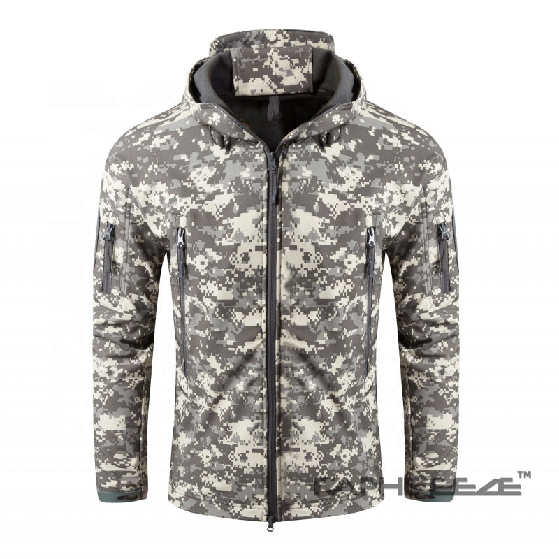 Camouflage printed hoodie with zip-front closure and split-kangaroo pockets