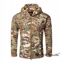 Camouflage hoodie Jacket for men with zip-front closure and split-kangaroo pockets