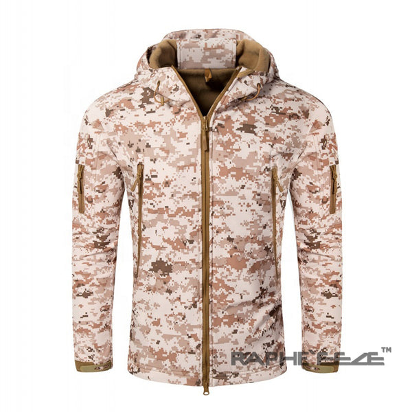 Camouflage hoodie with zip-front closure and split-kangaroo pockets Jacket for men - Light color