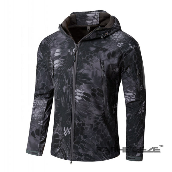 Dark Nature Camouflage hoodie Jacket for men with zip-front closure and split-kangaroo pockets