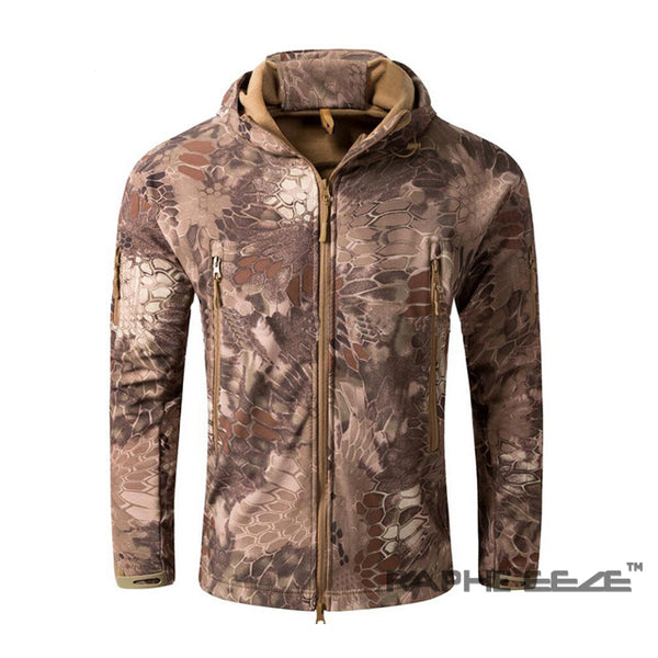 Camouflage hoodie with zip-front closure and split-kangaroo pockets Jacket for men - Mixed color