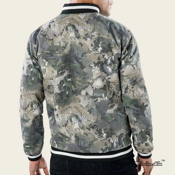 Unique Designed Camouflage hoodie Jacket for men with zip-front closure and split-kangaroo pockets