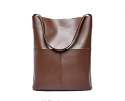 Fashionable Italian Leather Made Large Shoulder Bag for Women - Coffee Color