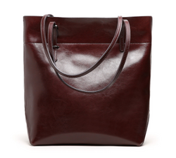 Fashionable Italian Leather Made Large Tote Bag for Women - Coffee Color