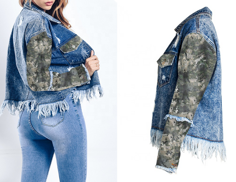 Camouflage Designed Street Wear Classic Denim Jacket with Long Sleeves