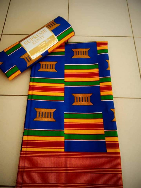 A Blue Colored Beautiful Designed Original Kente Fabrics