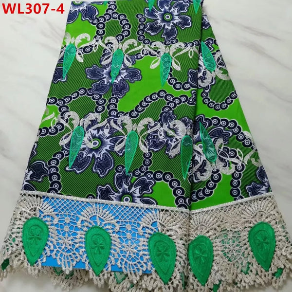 Leaf Green Cotton Wax Embroidery Lace 5 Yards