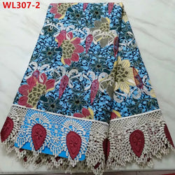 Multi Sea Embroidered Cotton Wax Lace 5 Yards