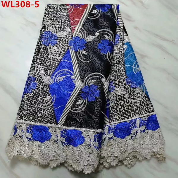 Supreme Designed Stylish Lace Fabrics With Embroidery Net Lace - Blue & Black