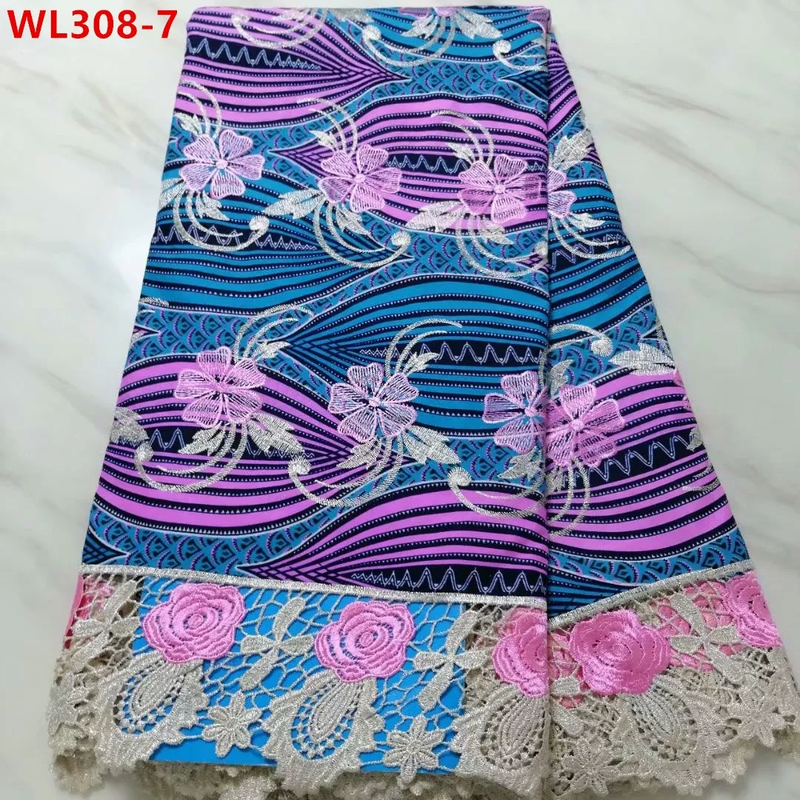 African Royal Embroidery Super Wax Lace  5 Yards
