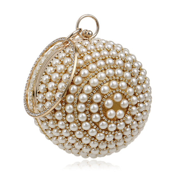 Unique Trendy Designed Handmade Party Beaded Pearl Evening Clutch Bag for Women - Golden Color