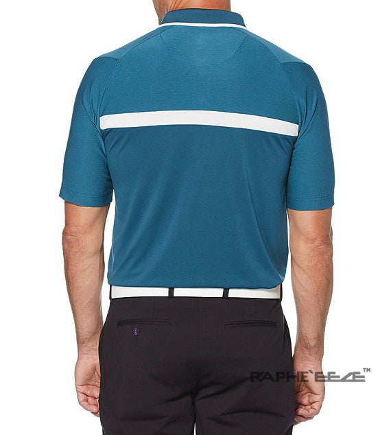 Men's Polo Shirt Golf Sports Half Sleeve T-Shirt Jersey Casual Long Sleeve Tops -  Sapphire Color with White Stripe