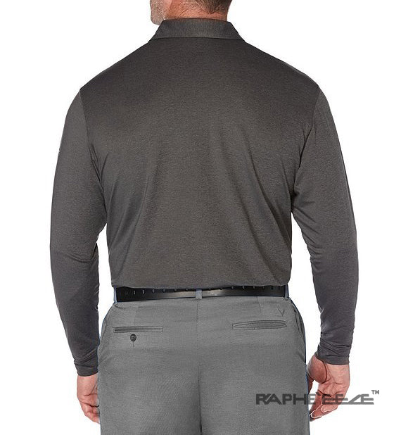 Men's Polo Shirt Golf Sports Full Sleeve T-Shirt Jersey Casual Long Sleeve Tops -  Dark Grey