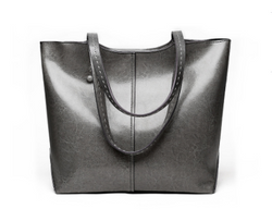 Casual Design Genuine Italian Leather Made Shoulder Bags for Women - Gray Color