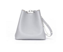 Classy Designed Genuine Italian Leather Bucket Bags for Women - Gray Color