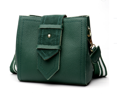 Fashionable Italian Leather Made Large Shoulder Bag for Women - Green Color