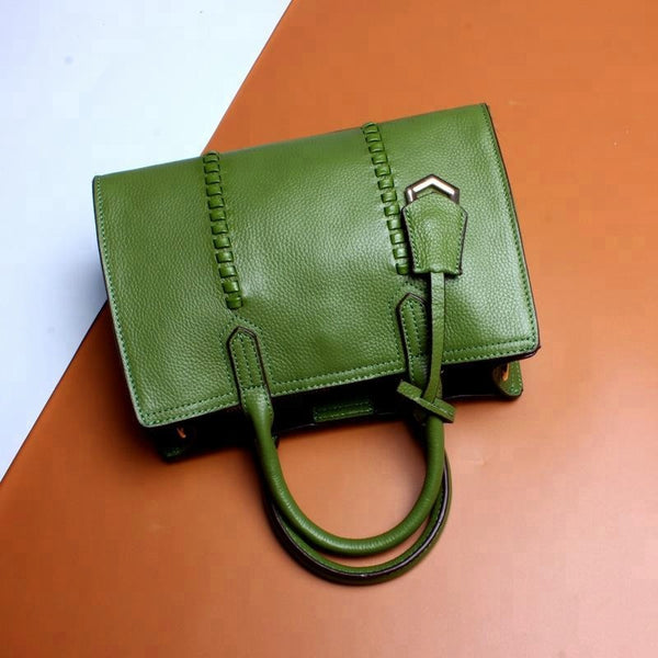 Beautiful Designed Genuine Italian Leather Made Tote Bag for Women - Green