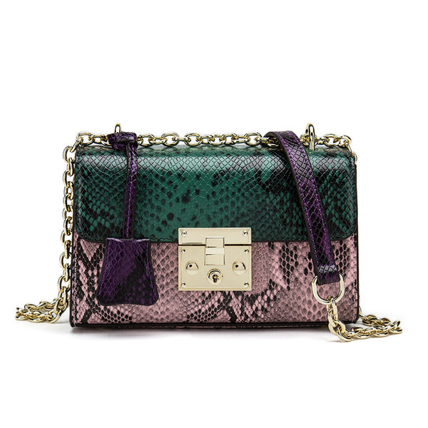 Trendy & Stylish Designed Shoulder Strap Snake Skin Leather Ladies bag - Green Color