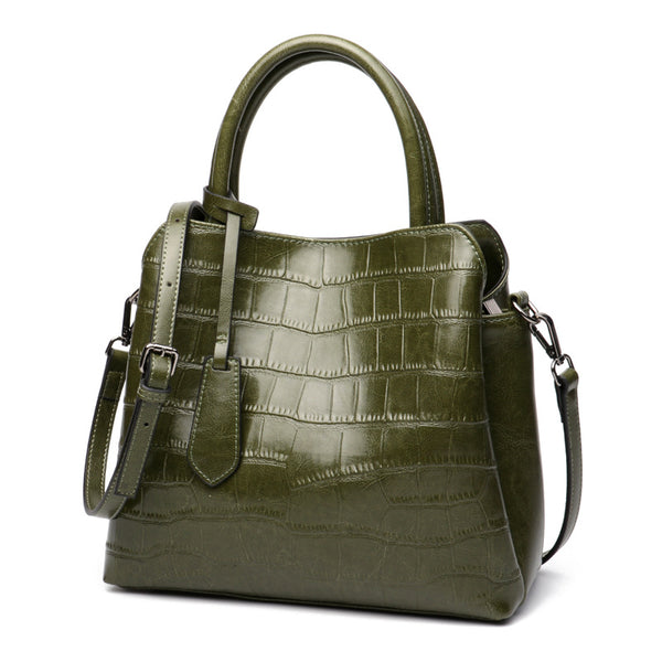 Classy Green Color Genuine Crocodile Leather Made Shoulder Bags for Women