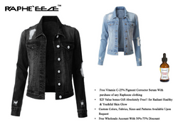 Black Deep Washed Denim Jacket with Long Sleeve for Women