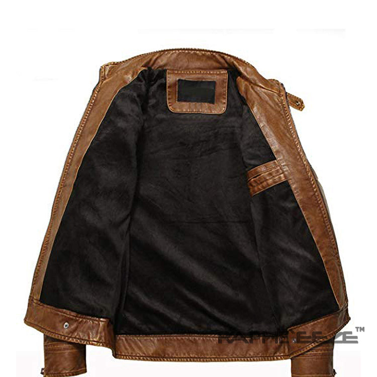 Leather Brown Biking Jacket for Men - Raglan Sleeve Faux Leather Jacket
