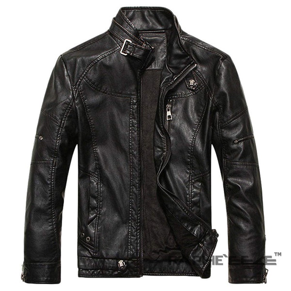 Classic Black Biking Jacket for Men - Raglan Sleeve Faux Leather Jacket