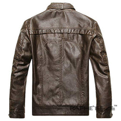 Chocolate Color Biking Jacket for Men - Raglan Sleeve Faux Leather Jacket