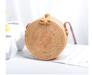 Beautiful Designed Handmade Summer Beach Bag Round and Small for Women - Mid Brown