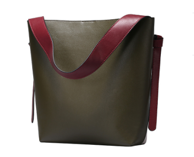 Eye Catching Designed Italian Leather Made Casual Bag for Women - Olive Green