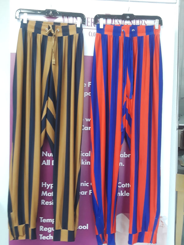 Long Work Pant for Woman with Eccentric Stripe Design