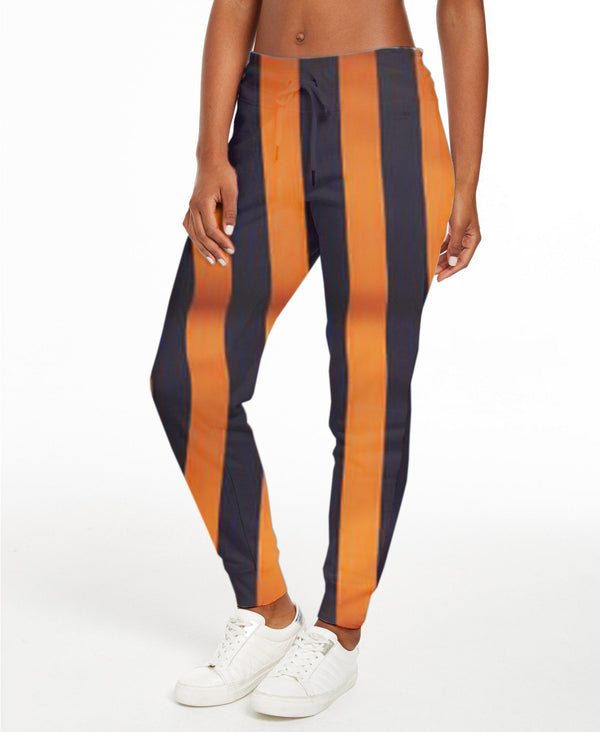Black & Golden Coloured Classic Big Stripe Woman Work Pant - Long