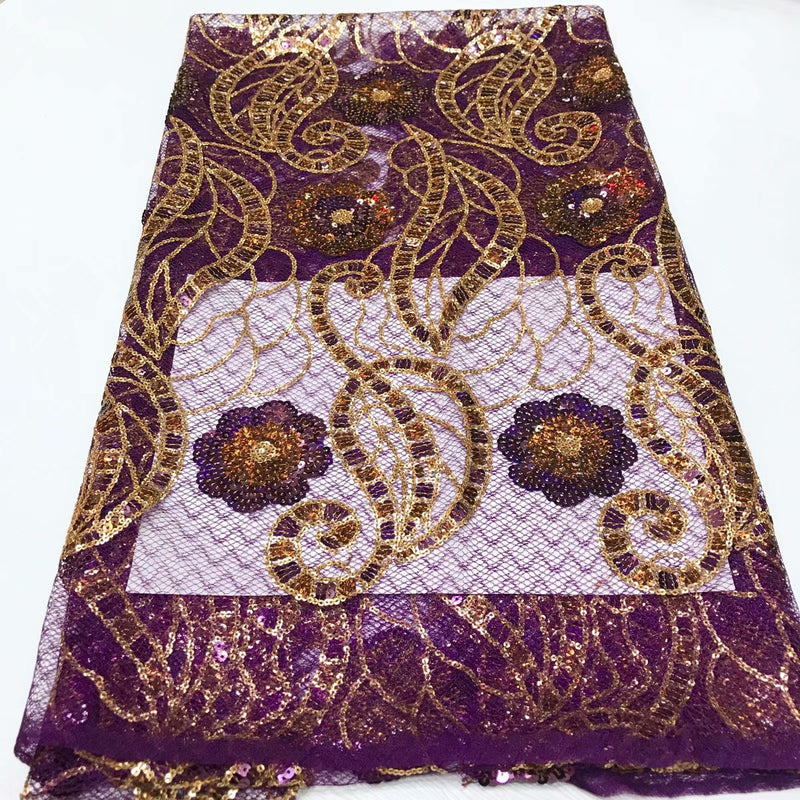 Purple Color with Golden Embroidery Designed Transparent English Silk Cord Laces