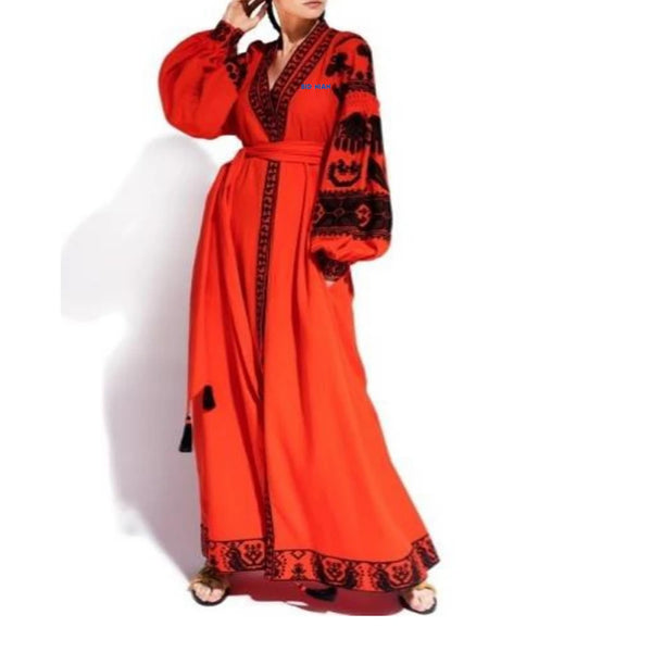 Women's Long sleeves Orange Dress with Black Embroidery 12 Pcs