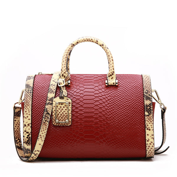 Unique Designed Vintage Style Snake Leather Made Purse Bag for Women - Red