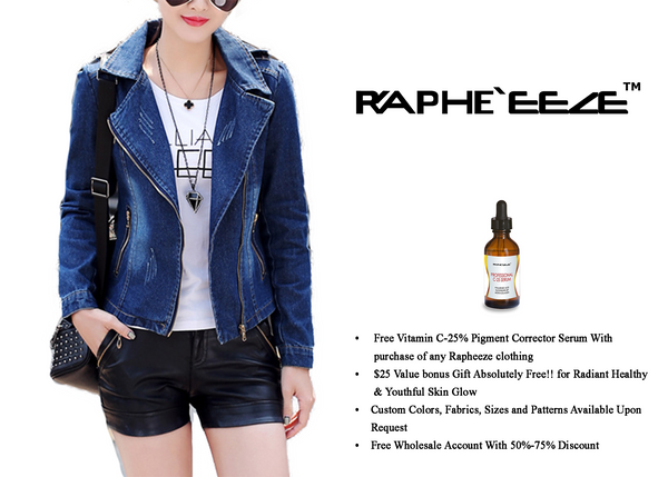 Lapel Zip Deep Blue Denim Bikers Jacket with Long Sleeve for Women