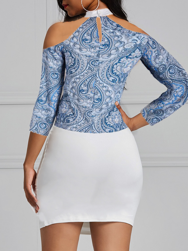 Paisley Cold Shoulder Bat Wing Top
