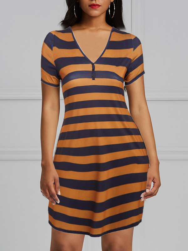 V-Neck Brown Navy Stripe Bodycon Dress
