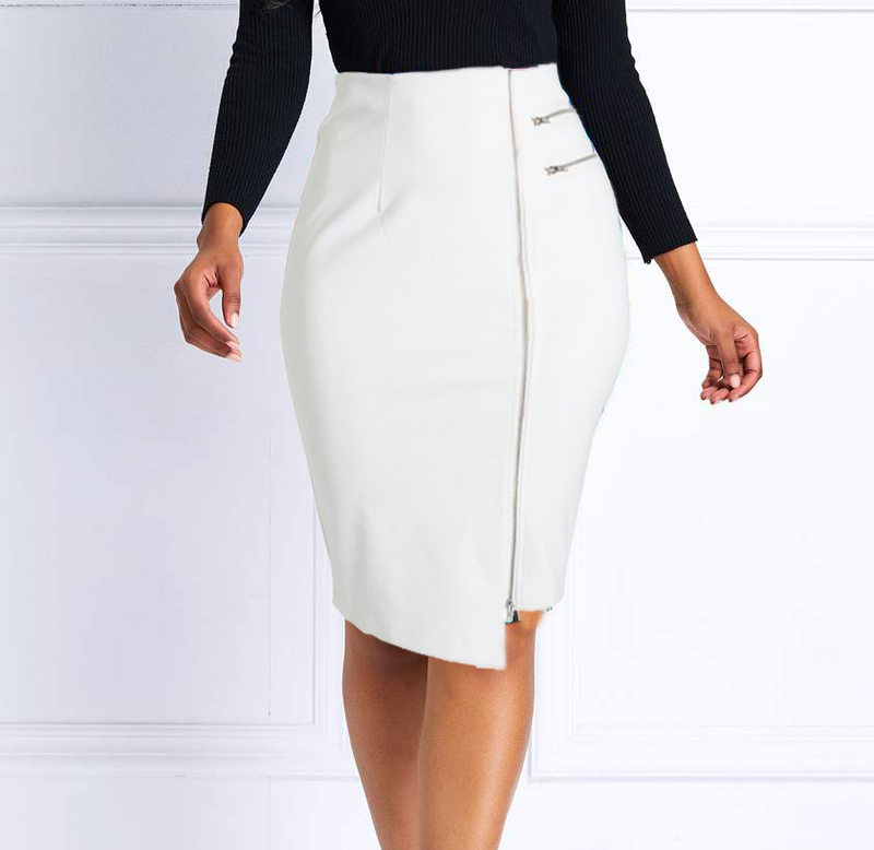 English Italian Hip Curvy White Asymmetrical Zip Skirt