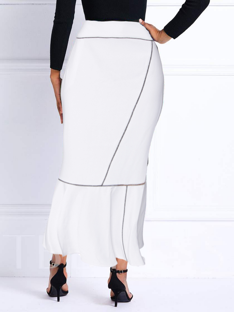 Long Calf Length Skirt Straight Angle- White