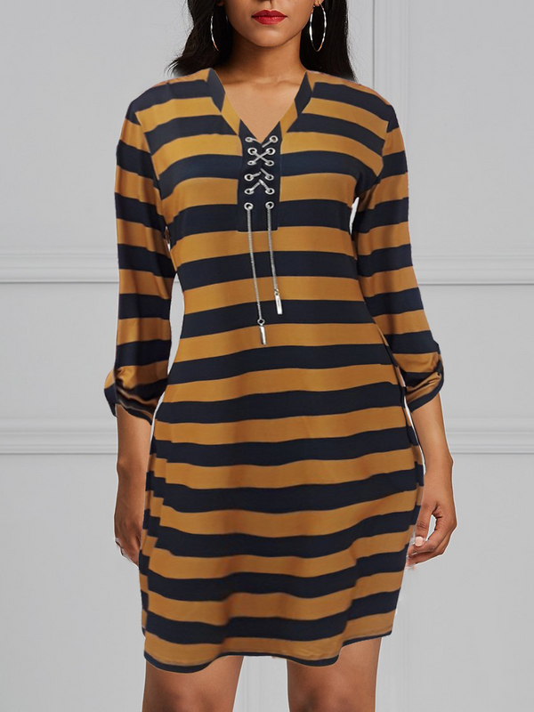 Heart Chain Bodycon Brown Black Stripe Dress